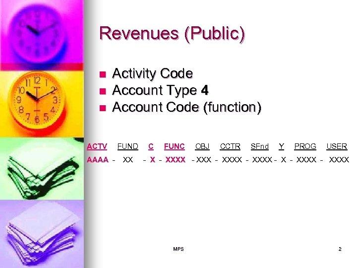 Revenues (Public) n n n Activity Code Account Type 4 Account Code (function) ACTV