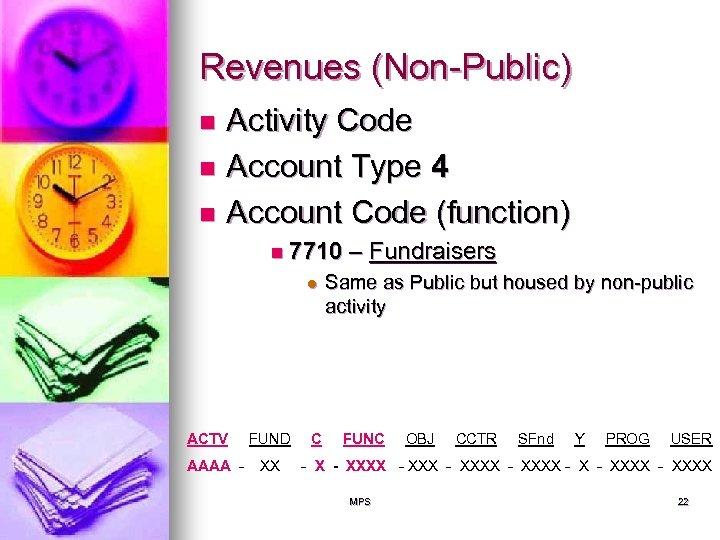Revenues (Non-Public) Activity Code n Account Type 4 n Account Code (function) n n