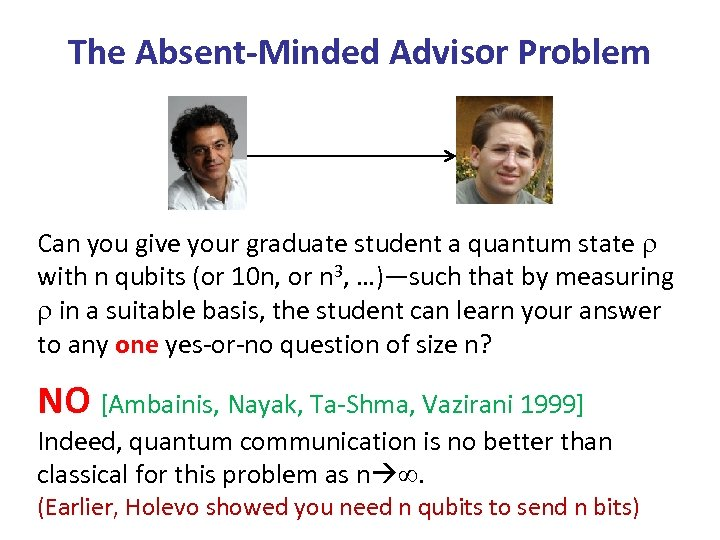 The Absent-Minded Advisor Problem Can you give your graduate student a quantum state with