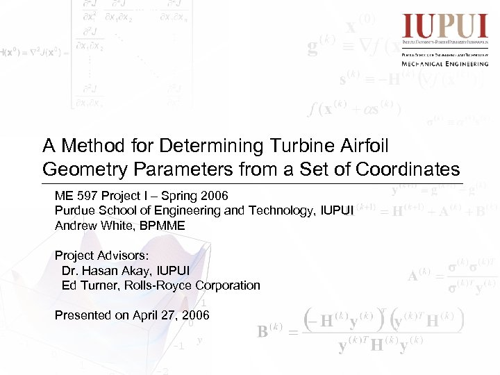 A Method for Determining Turbine Airfoil Geometry Parameters from a Set of Coordinates ME