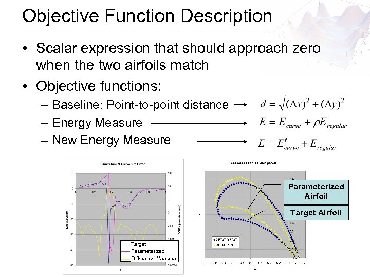 Objective Function Description • Scalar expression that should approach zero when the two airfoils