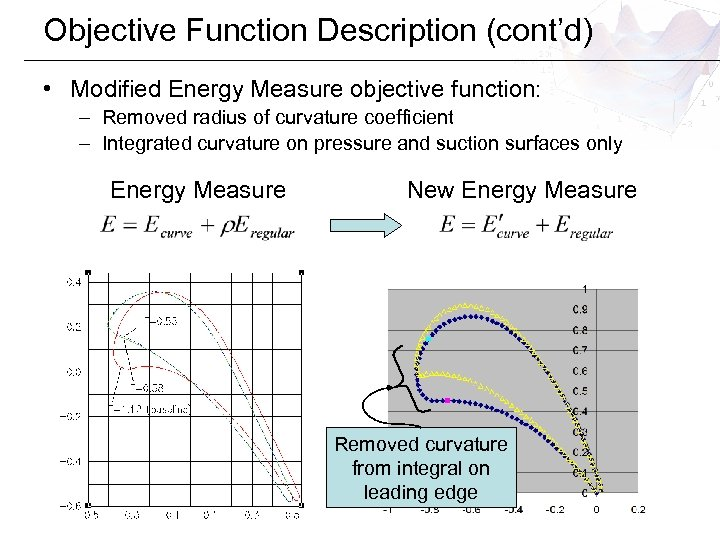Objective Function Description (cont'd) • Modified Energy Measure objective function: – Removed radius of