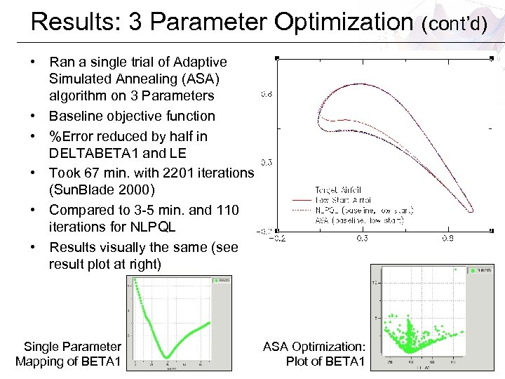 Results: 3 Parameter Optimization (cont'd) • Ran a single trial of Adaptive Simulated Annealing