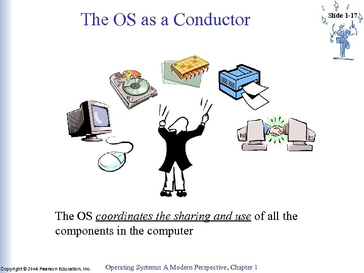 The OS as a Conductor The OS coordinates the sharing and use of all