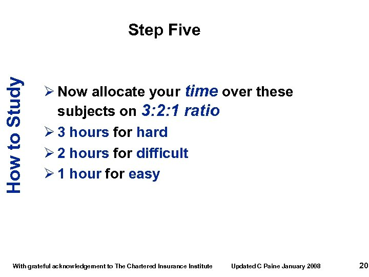 How to Study Step Five Ø Now allocate your time over these subjects on