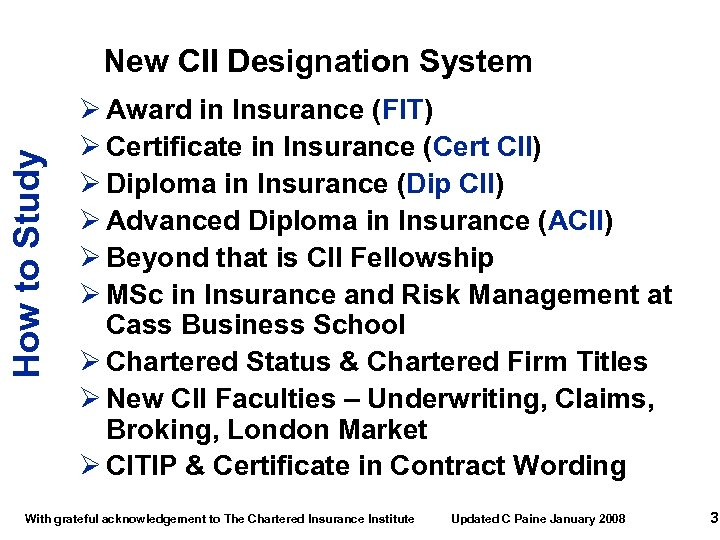 How to Study New CII Designation System Ø Award in Insurance (FIT) Ø Certificate