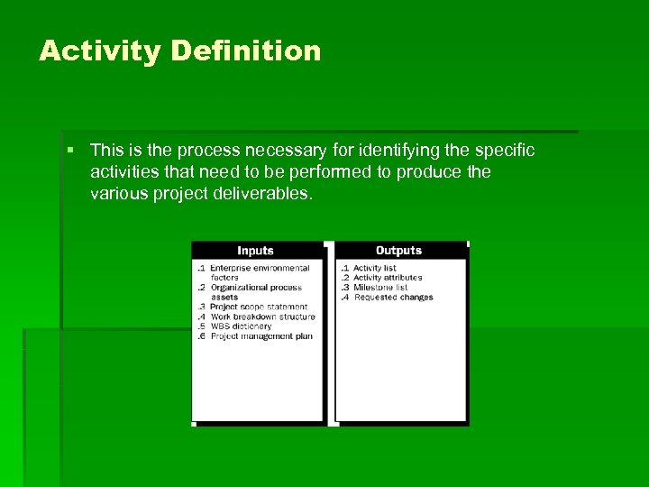 Activity Definition § This is the process necessary for identifying the specific activities that