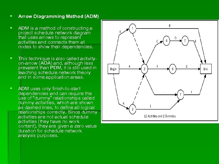 § Arrow Diagramming Method (ADM) § ADM is a method of constructing a project