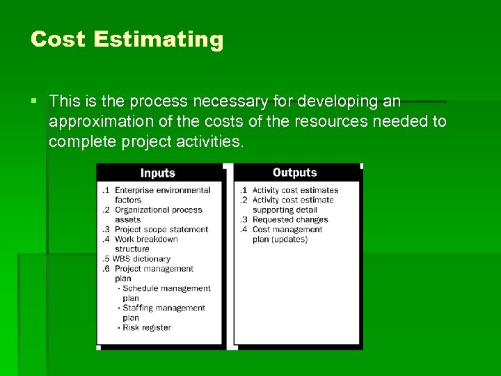 Cost Estimating § This is the process necessary for developing an approximation of the