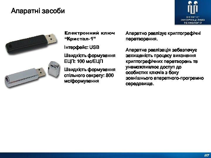 """Апаратні засоби Електронний ключ """"Кристал-1"""" Інтерфейс: USB Швидкість формування ЕЦП: 100 мс/ЕЦП Швидкість формування"""