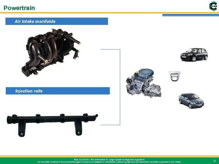 Powertrain Air intake manifolds Injection rails MGI COUTIER / The Alternative to Large System
