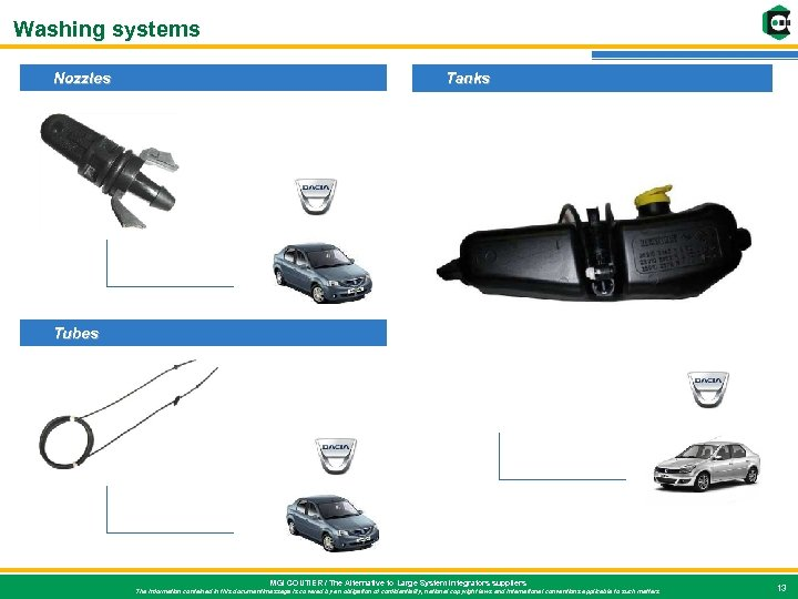 Washing systems Nozzles Tanks Tubes MGI COUTIER / The Alternative to Large System Integrators