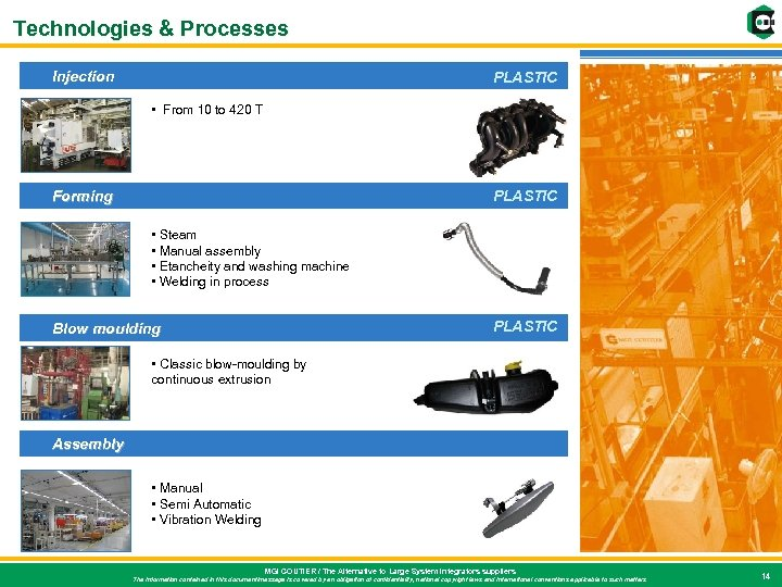 Technologies & Processes Injection PLASTIC • From 10 to 420 T Forming PLASTIC •