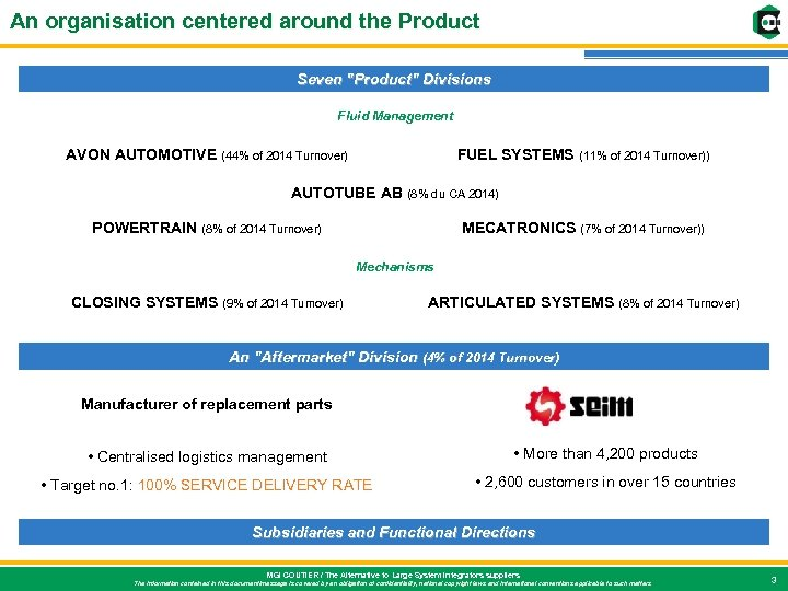 An organisation centered around the Product Seven