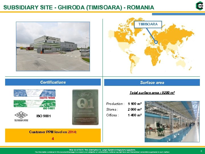 SUBSIDIARY SITE - GHIRODA (TIMISOARA) - ROMANIA TIMISOARA Certifications Surface area Total surface area
