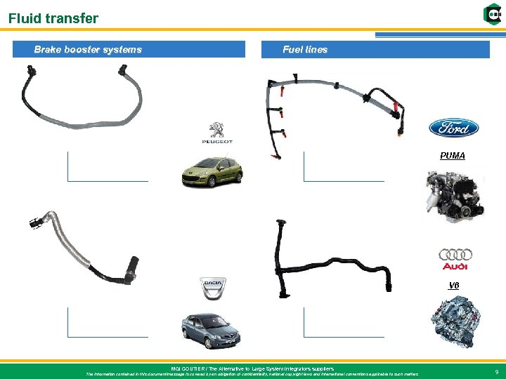 Fluid transfer Brake booster systems Fuel lines PUMA V 6 MGI COUTIER / The