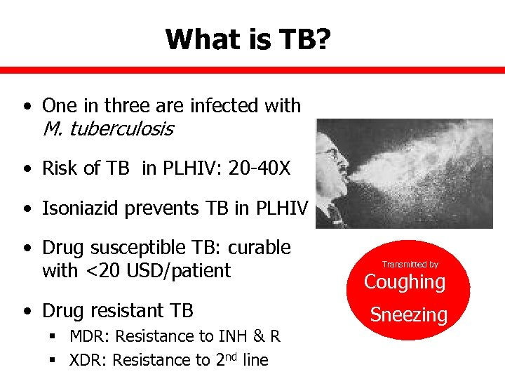 What is TB? • One in three are infected with M. tuberculosis • Risk