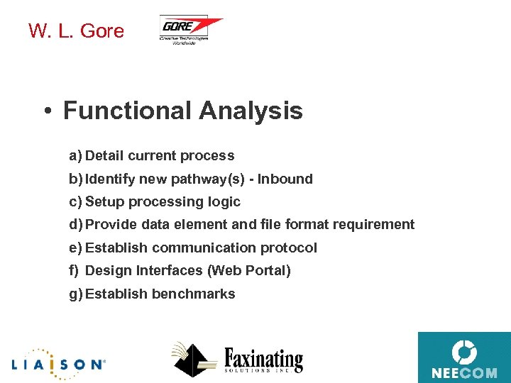 W. L. Gore • Functional Analysis a) Detail current process b) Identify new pathway(s)