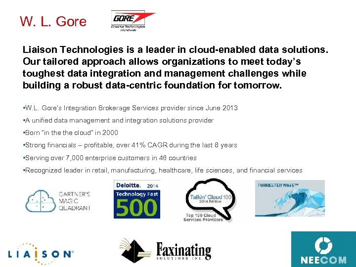 W. L. Gore Liaison Technologies is a leader in cloud-enabled data solutions. Our tailored
