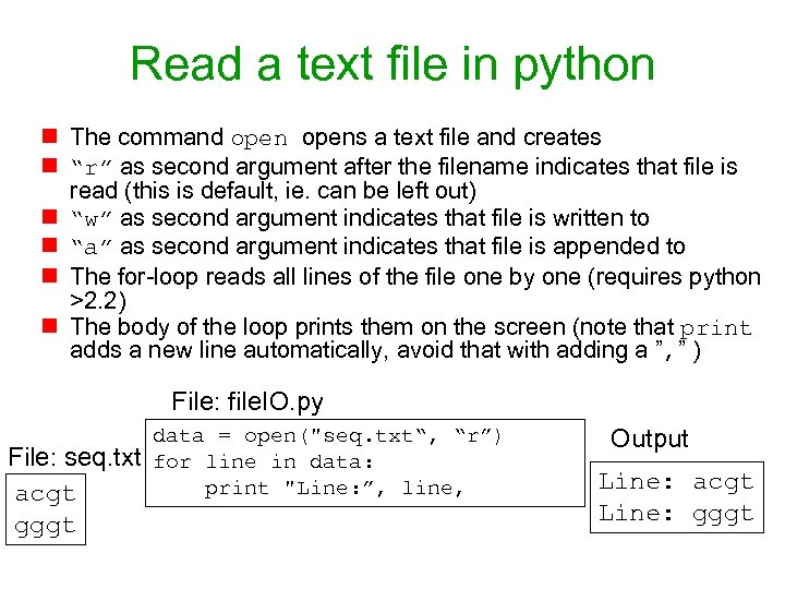 Read a text file in python n The command opens a text file and