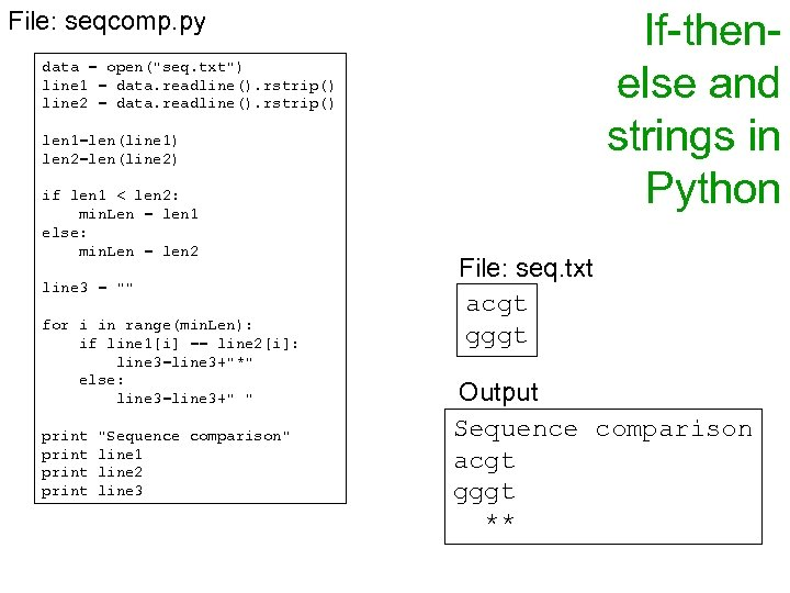 If-thenelse and strings in Python File: seqcomp. py data = open(