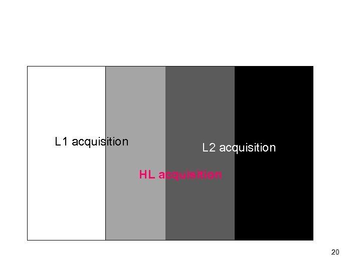 L 1 acquisition L 2 acquisition HL acquisition 20