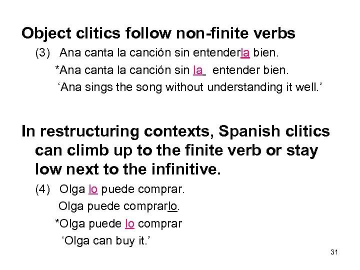 Object clitics follow non-finite verbs (3) Ana canta la canción sin entenderla bien. *Ana