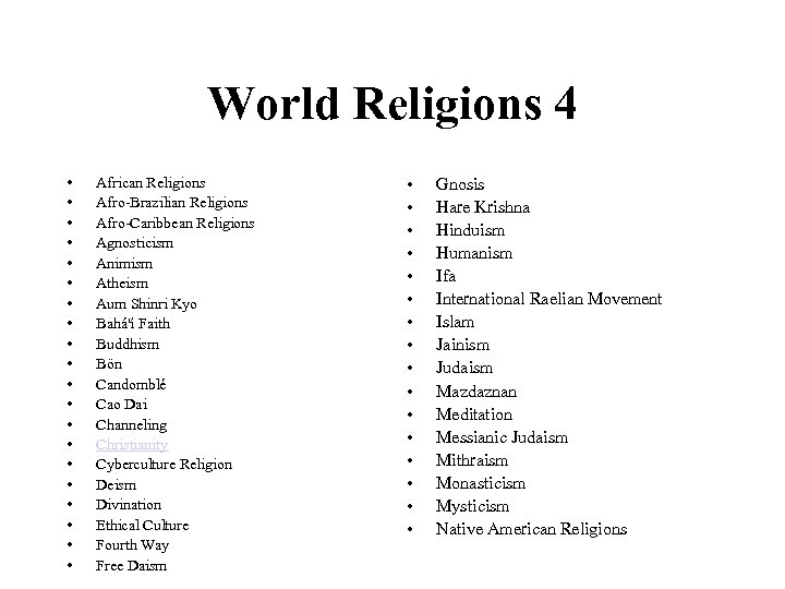 World Religions 4 • • • • • African Religions Afro-Brazilian Religions Afro-Caribbean Religions