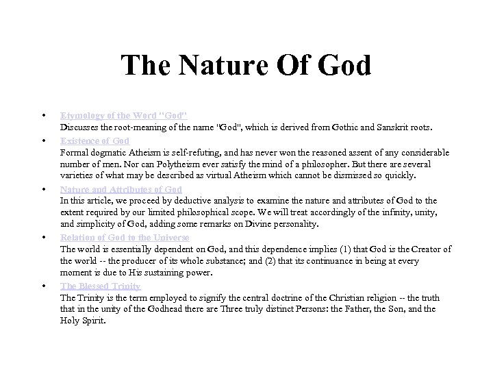 The Nature Of God • • • Etymology of the Word