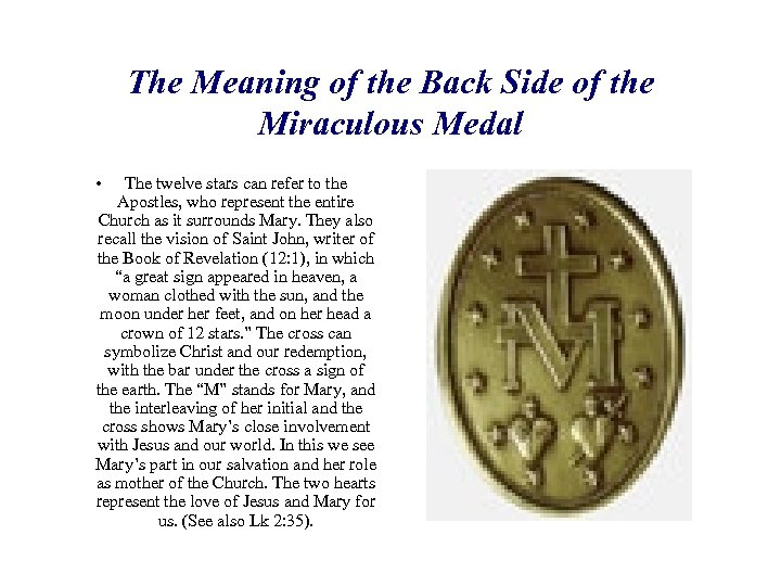 The Meaning of the Back Side of the Miraculous Medal • The twelve stars