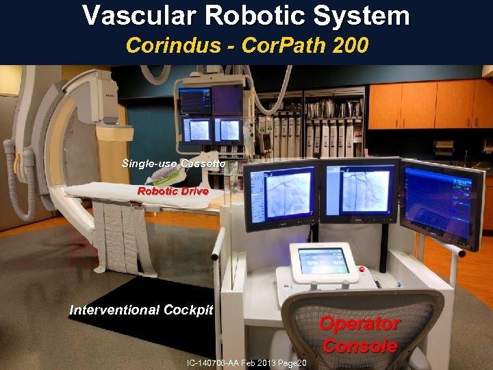 Vascular Robotic System Corindus - Cor. Path 200 Single-use Cassette Robotic Drive Interventional Cockpit