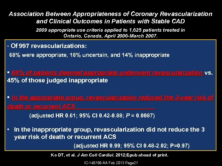 Association Between Appropriateness of Coronary Revascularization and Clinical Outcomes in Patients with Stable CAD