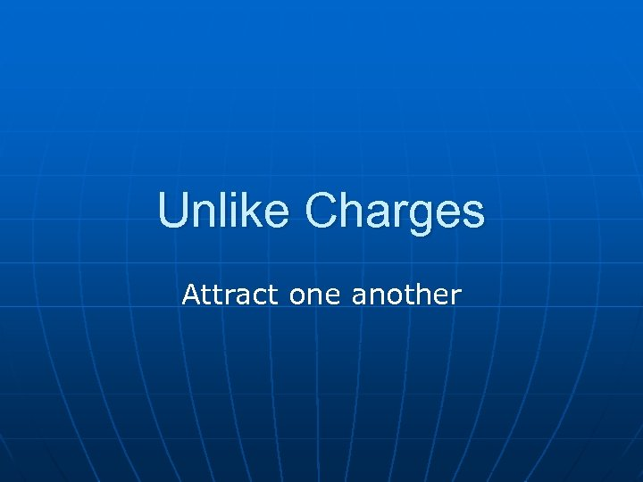 Unlike Charges Attract one another
