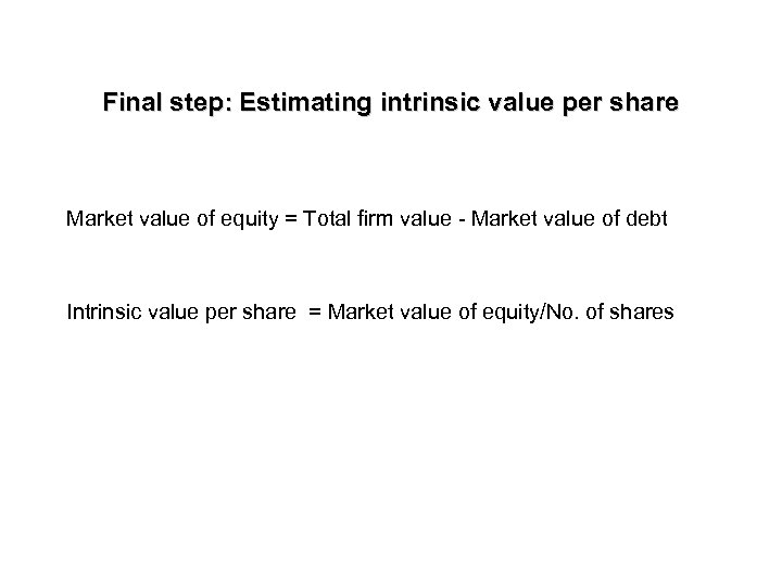 Final step: Estimating intrinsic value per share Market value of equity = Total firm