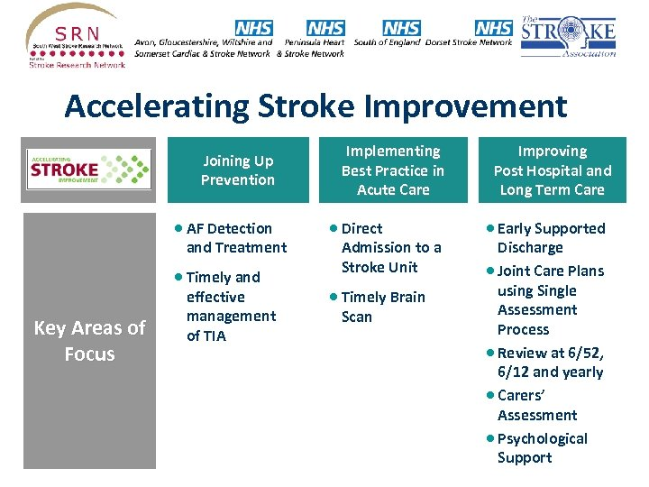 Accelerating Stroke Improvement Domains Joining Up Prevention · AF Detection and Treatment · Timely