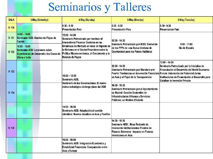 Seminarios y Talleres