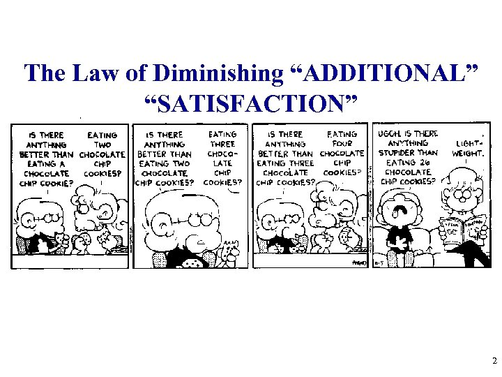 "The Law of Diminishing ""ADDITIONAL"" ""SATISFACTION"" 2"