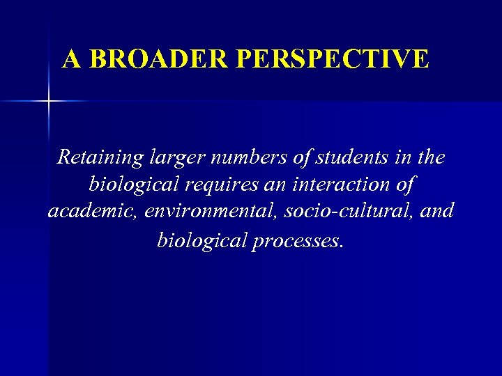 A BROADER PERSPECTIVE Retaining larger numbers of students in the biological requires an interaction