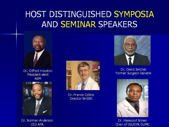 HOST DISTINGUISHED SYMPOSIA AND SEMINAR SPEAKERS Dr. David Satcher Former Surgeon General Dr. Clifford