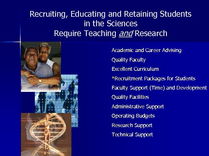 Recruiting, Educating and Retaining Students in the Sciences Require Teaching and Research Academic and