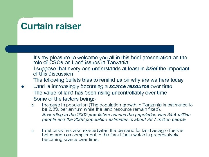 Curtain raiser l It's my pleasure to welcome you all in this brief presentation