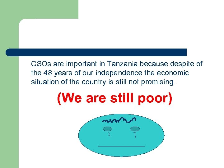 CSOs are important in Tanzania because despite of the 48 years of our independence