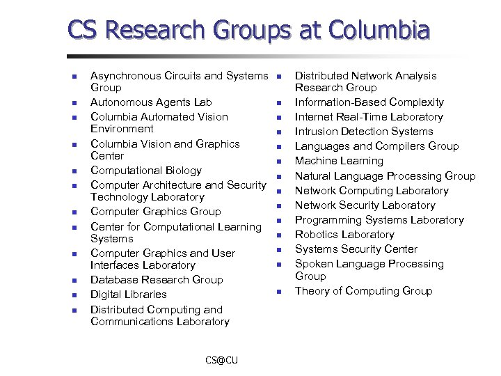 CS Research Groups at Columbia n n n Asynchronous Circuits and Systems Group Autonomous