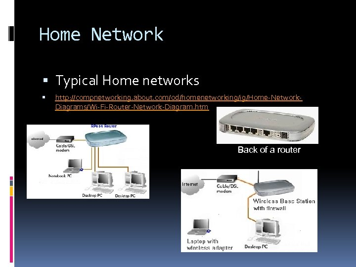 Home Network Typical Home networks http: //compnetworking. about. com/od/homenetworking/ig/Home-Network. Diagrams/Wi-Fi-Router-Network-Diagram. htm Back of a