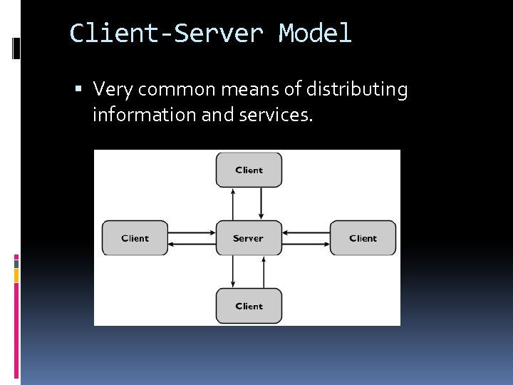 Client-Server Model Very common means of distributing information and services.