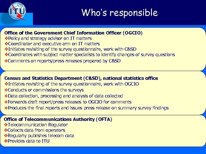 Who's responsible Office of the Government Chief Information Officer (OGCIO) v. Policy and strategy