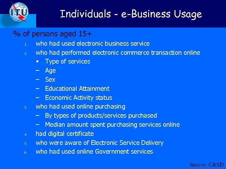 Individuals - e-Business Usage % of persons aged 15+ 1. 2. 3. 4. 5.