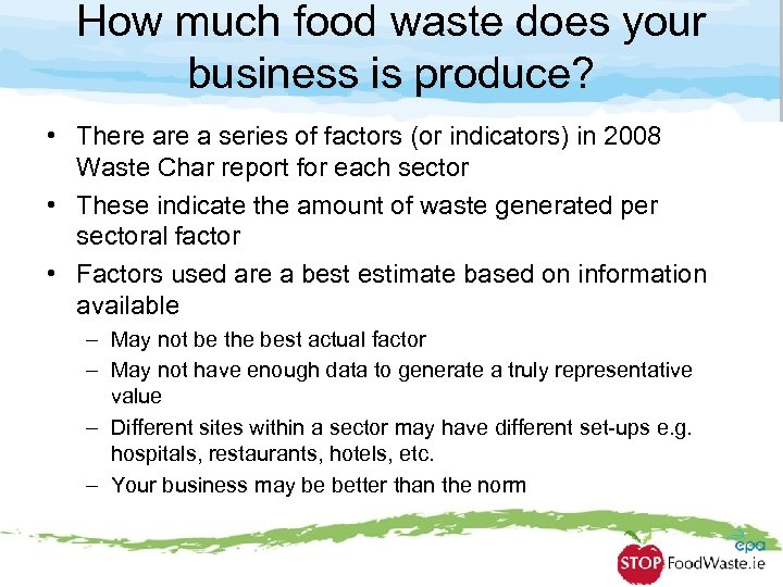 How much food waste does your business is produce? • There a series of