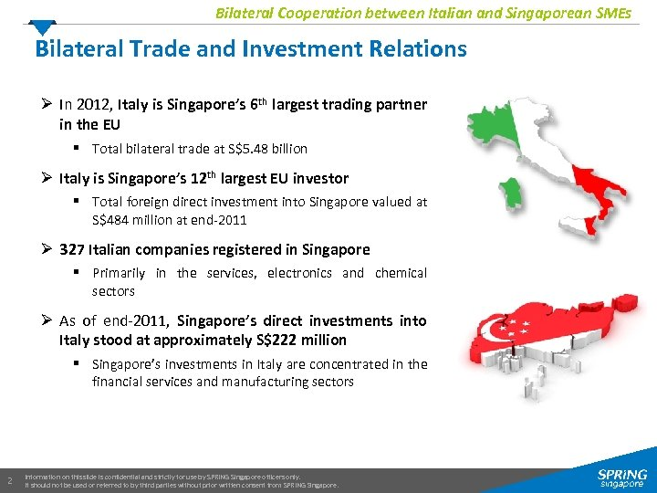 Bilateral Cooperation between Italian and Singaporean SMEs Bilateral Trade and Investment Relations Ø In