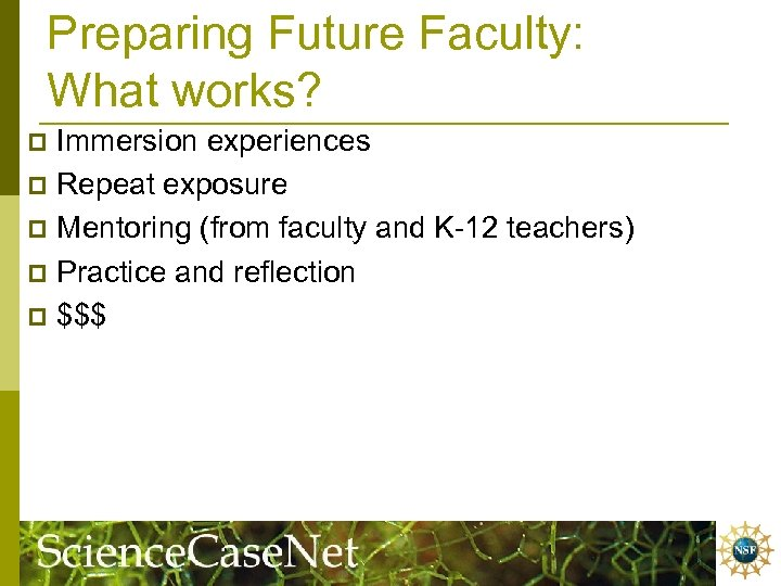 Preparing Future Faculty: What works? Immersion experiences p Repeat exposure p Mentoring (from faculty
